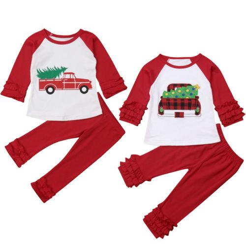 Girls Clothes Set Autumn Flouncing T-Shirt Pants For Xmas 2pcs Merry Christmas Fashion Kids Girl Outfits Red Type Dropshipping