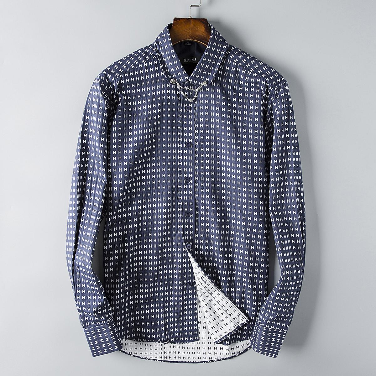 2019 Designer Mens Shirts Small Letter Print Casual Business Shirt