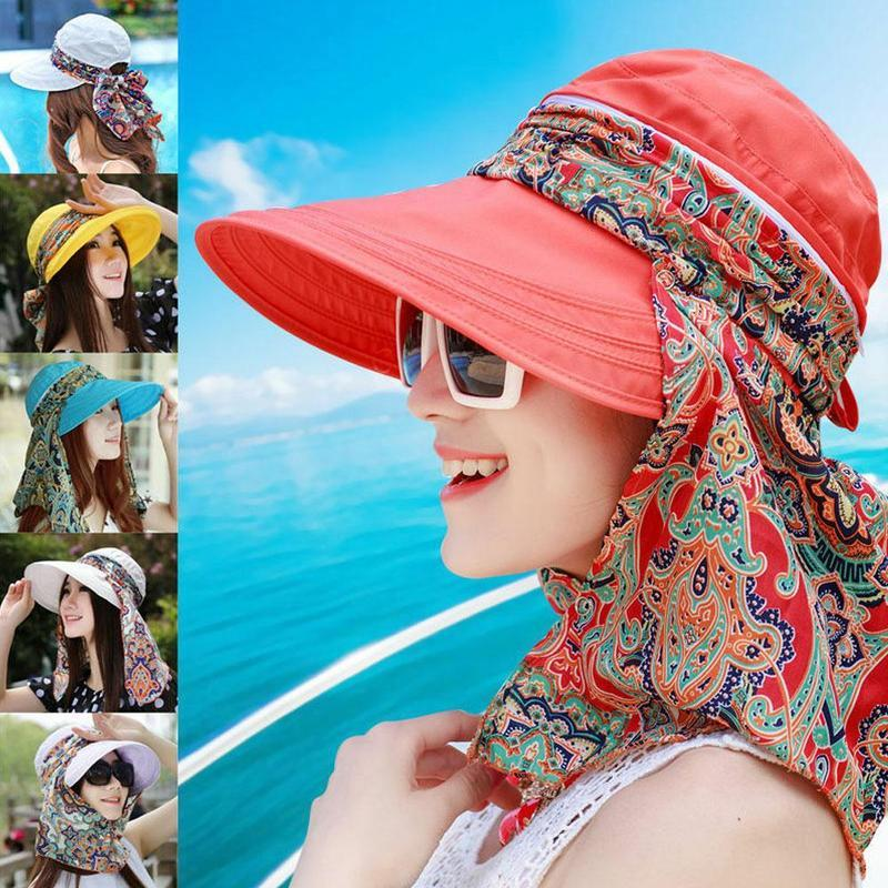 e0654a031f22b Women Summer Outdoor Cap Riding Anti UV Sun Hat Beach Foldable Sunscreen  Floral Print Caps Neck Face Wide Brim Hat AAA2030 Bucket Hat Fedora Hat  From ...