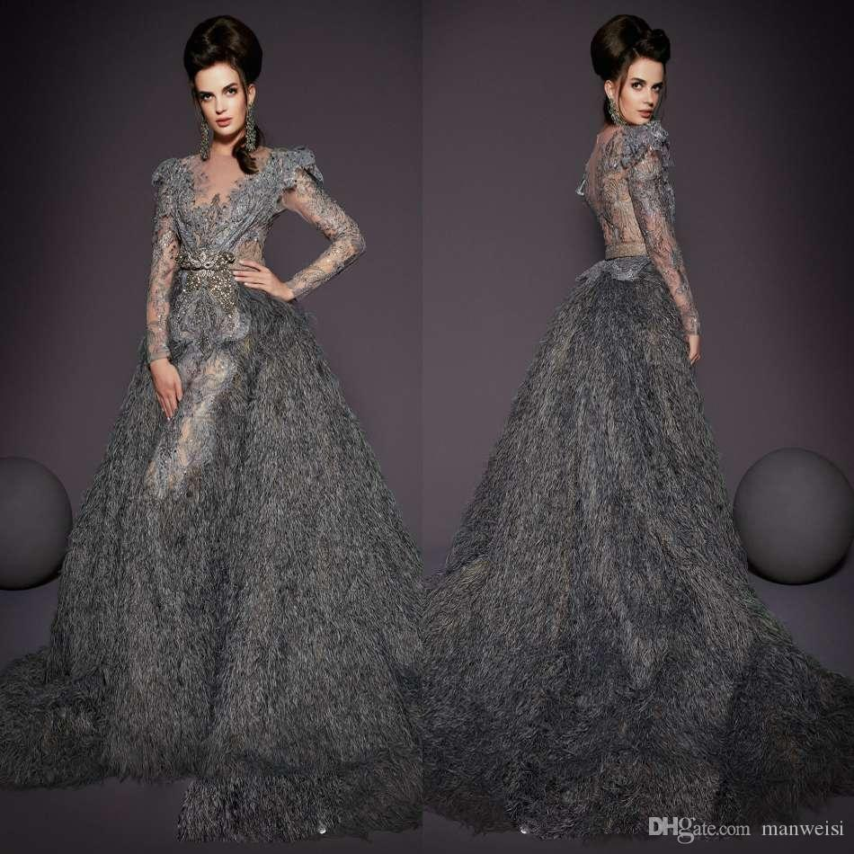 e938bed8c0c Luxury Feather Mermaid Evening Dresses With Detachable Train Lace ...