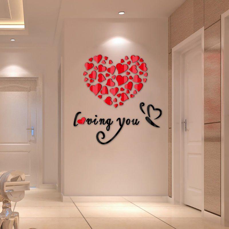 Diy 3d Pegatinas De Pared Decoración Preciosa Espejo Corazones Inicio Calcomanía Extraíble San Valentín Arte De La Pared Decoración