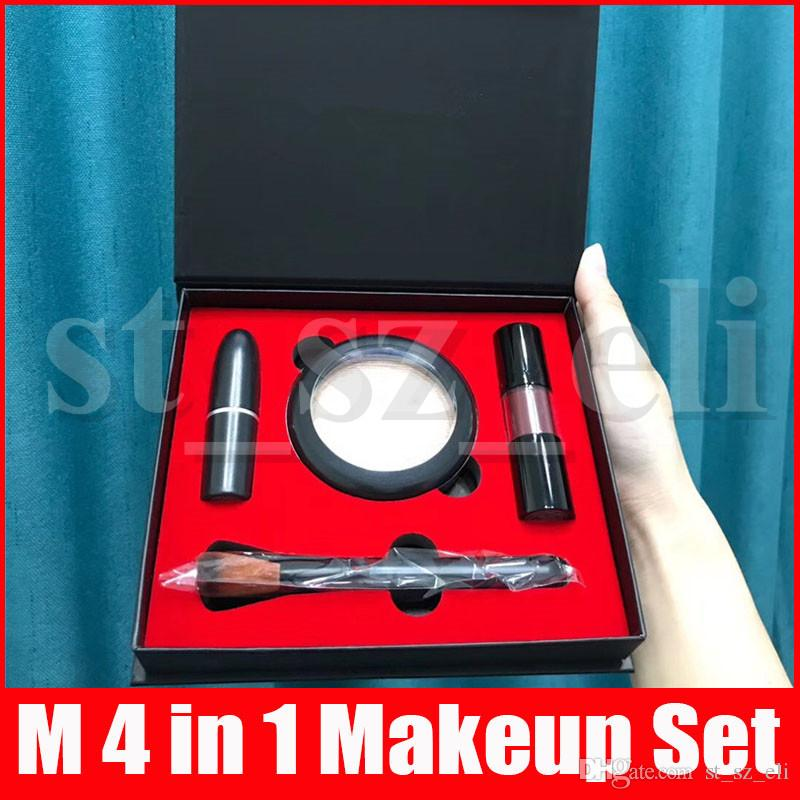 M 4 in 1 Makeup set Matte Lipstick Lipgloss Lip Gloss Highlighter Powder Make Up Brush Cosmetic Kit woth Gift Paper Bag