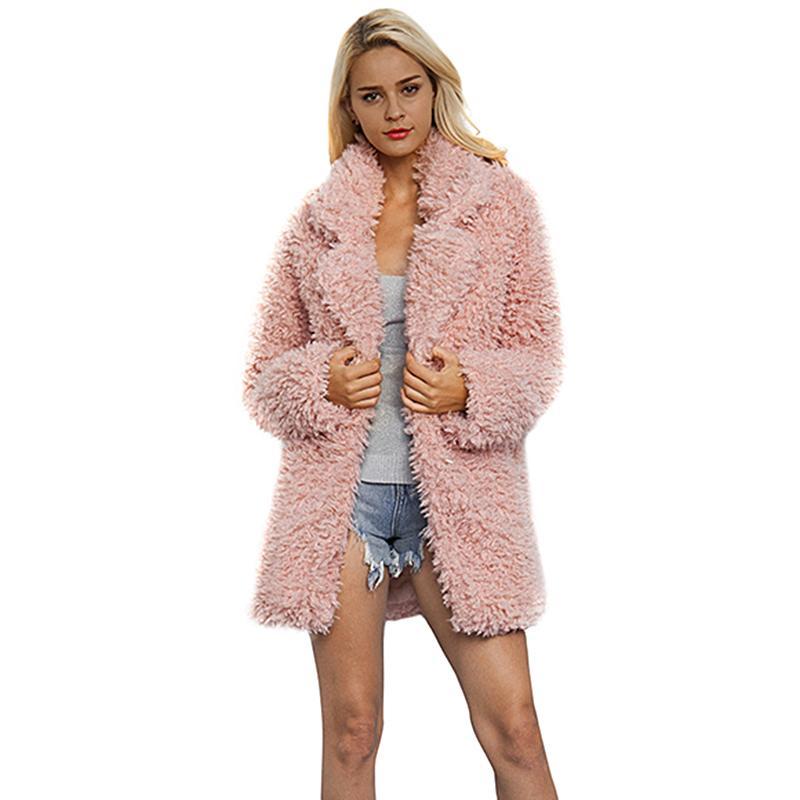 fd057ea13b3 2019 Winter Women Faux Fur Coat Long Solid Pink Turn Down Collar Thick Teddy  Jacket Long Sleeve Fluffy Outerwear Hairy Warm Overcoat From Modleline, ...