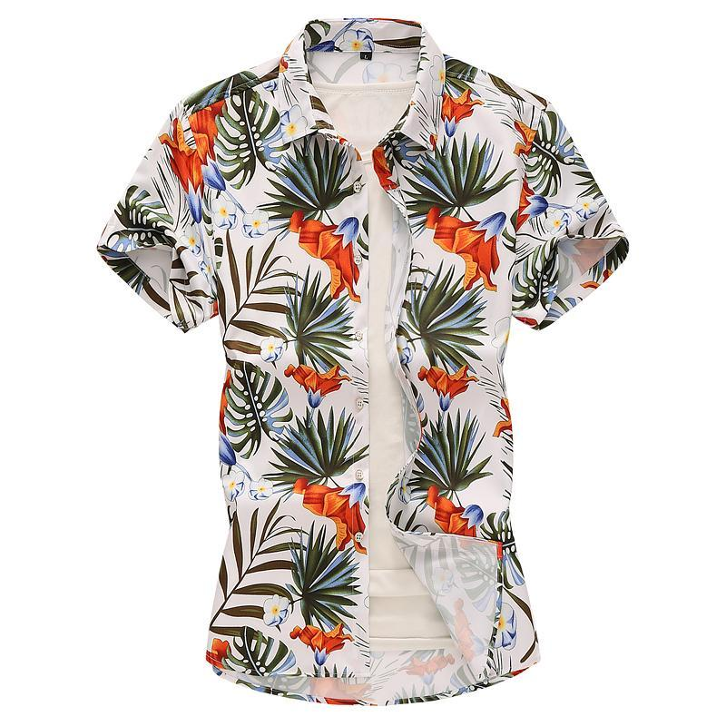Evening Dress Casual Social Shirt Plus size Short sleeve Hawaiian Shirt for Men clothing Blouse Men Summer Black White
