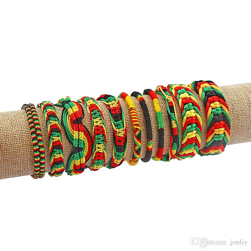 9c57f80fb96ad 10pcs Rasta Friendship Bracelet Wristband Cotton Silk Reggae Jamaica Surfer  Boho Adjustable Jewellery