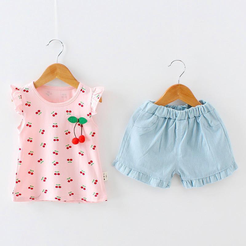 7e7272732b060 Satın Al Kaliteli Yaz Bebek Giyim Seti Kız Eşofman Üstleri + Şort 2 Adet  Giyim Seti Çocuklar Küçük Kızlar Giyim Yürüyor Kıyafetler, $24.08 |  DHgate.Com'da