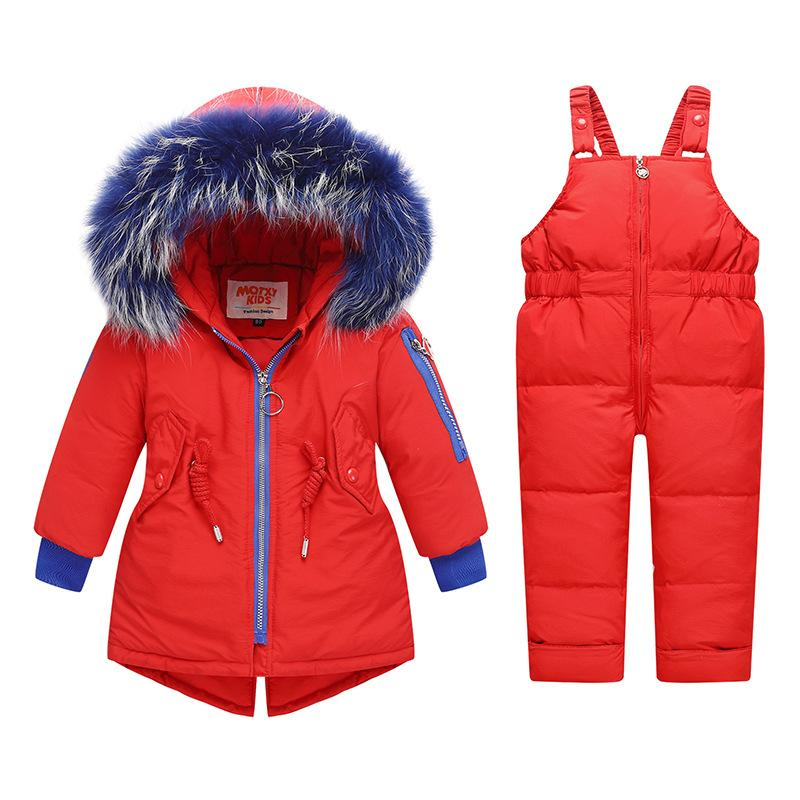 Kinder-Mantel-Winter-Mädchen-Jungen-Baby-Pelz-Jacken-Snowsuit Duck Down Baby Snows Outfits Schnee tragen Overall Wintermantel