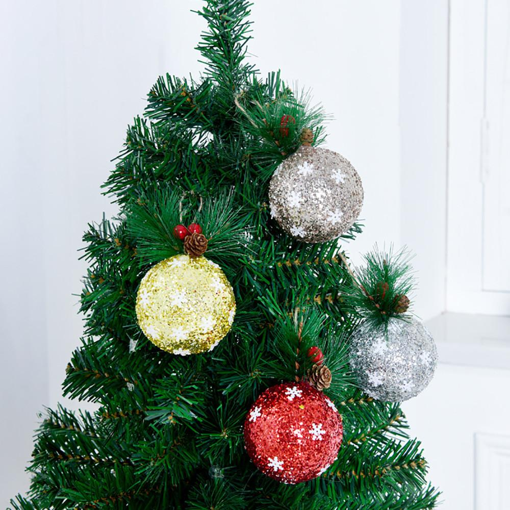 Christmas Tree Hanging Balls 6cm Silvery Gold Snowflake Color