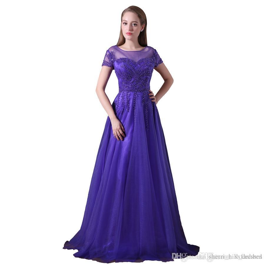c2d6c51c6 Vestidos para niñas de color púrpura Cuello circular Mangas cortas con  rebordear una línea de tul Vestidos largos de noche formales para las ...