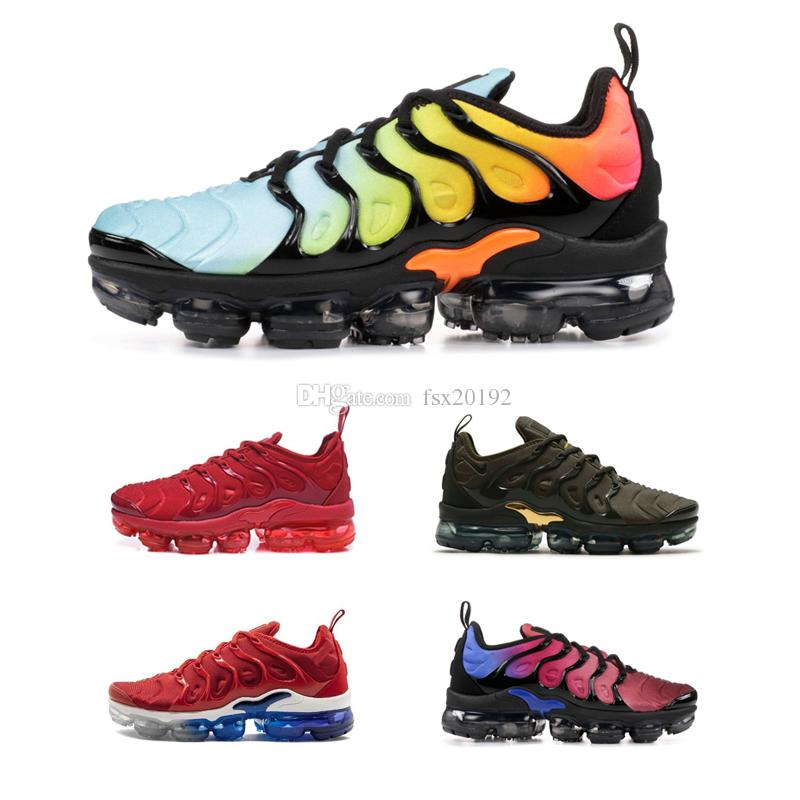 2019 de calidad superior Nike Air Vapormax Plus TN zapatillas hombres mujeres rojo negro blanco juego Royal Sports Sneaker diseñador zapatos 36 45