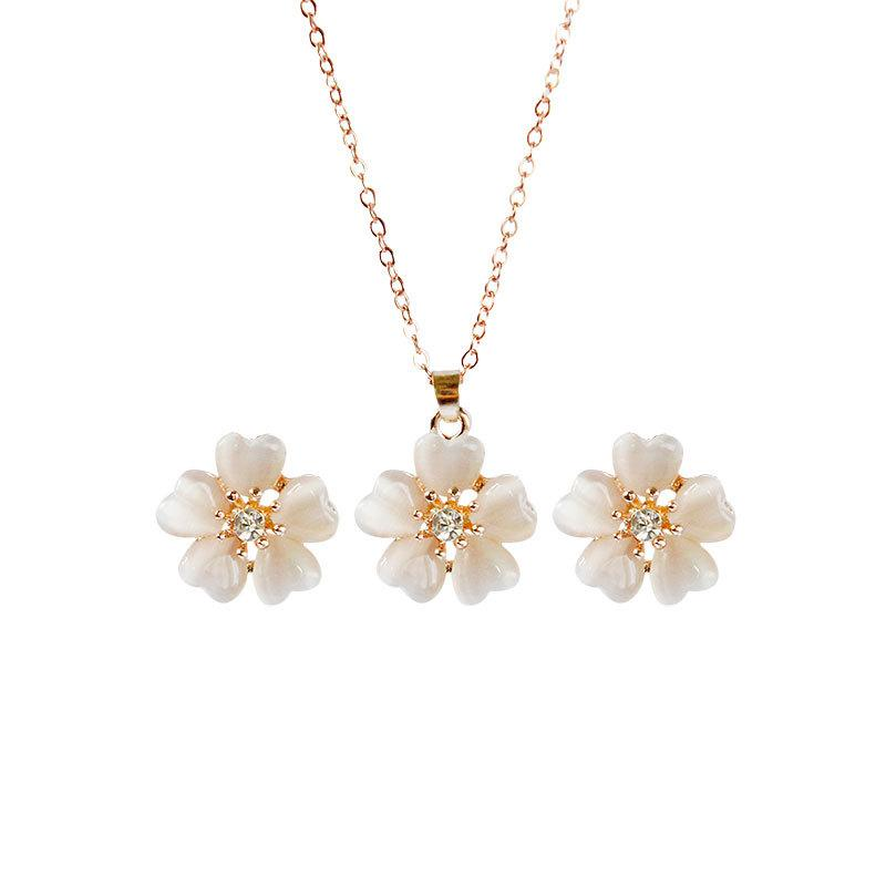 Jewelry Set Sweet Crystal Flower Pendant Necklace Women's Choker Necklace Wedding Pendant Necklace Earrings Set Girls Gift