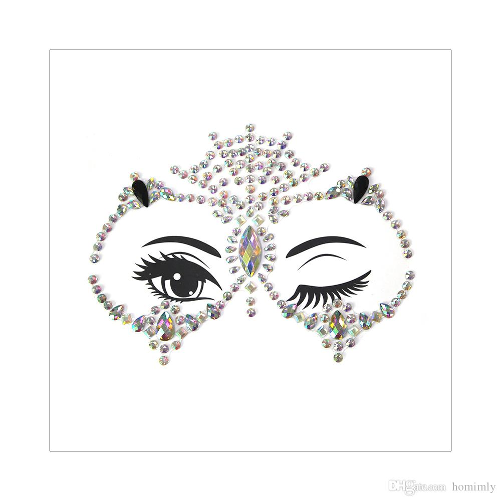 830579b32e 3D Owl Design Female Face Jewelry Gems Sticker Crystal Rhinestone Bling  Festival Body Glitter Temporary Tattoo Body Art Makeup 2019 New Gift