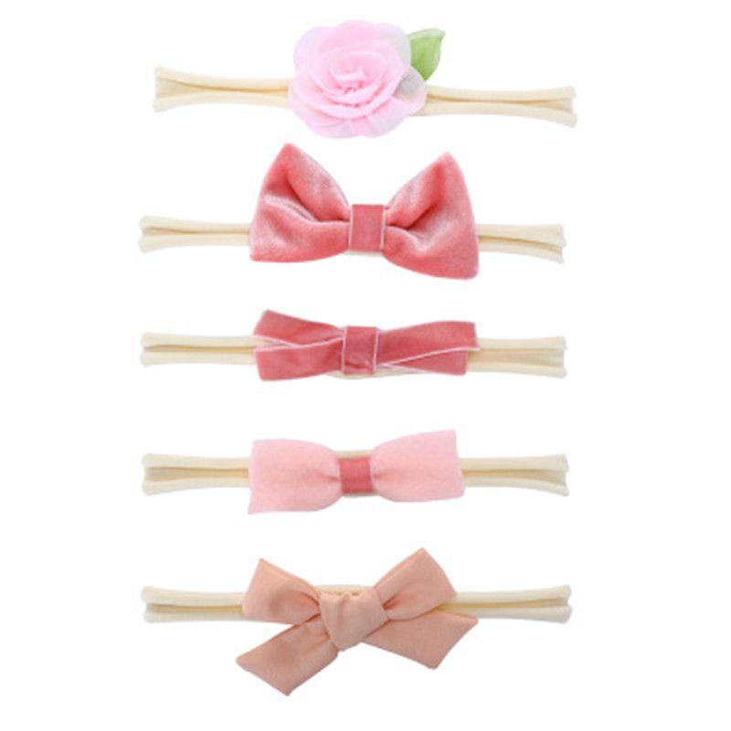 5Pcs Set Baby Girls Textile Flower Headband Rabbit Ears Elastic Hairband  For Bebe Kids Children Hair Accessories 6 styles