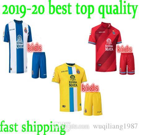 5e2d4b8d8 Compre O Mais Novo 2019 Espanyol Crianças Camisas De Futebol RCD Espanyol  Fora Camisa De Futebol Personalizado   7 B. LIGASIAS   10 DARDER   11 LEO  ...