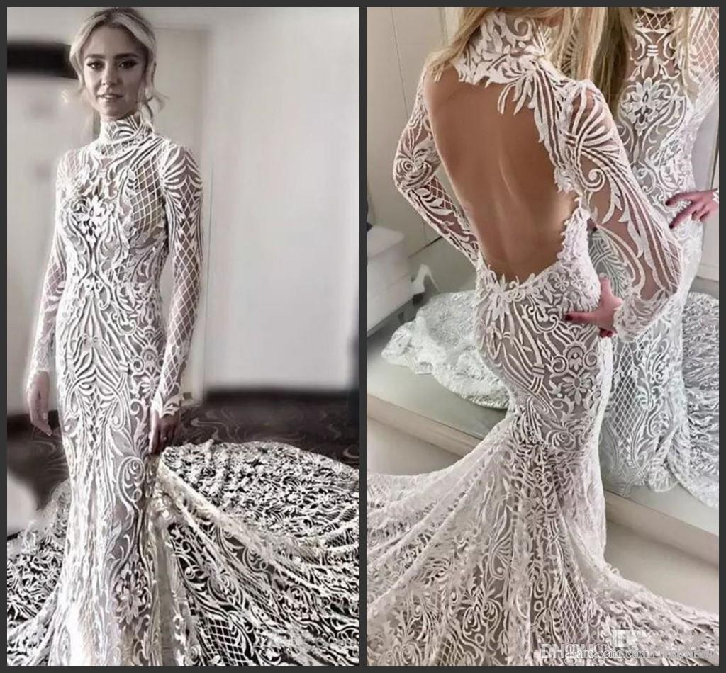 Elegant Full Lace Wedding Dresses High Neck Long Sleeves Backless Bridal Gowns Sweep Train Sexy Open Back Mermaid Wedding Dress 2019 New