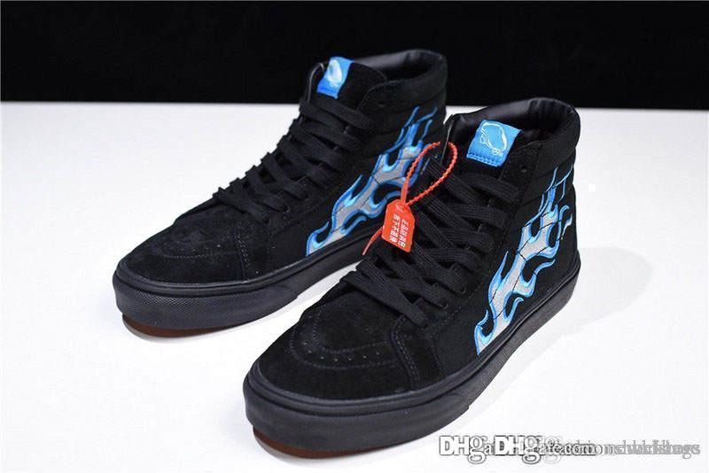 cf706512ce9 NO.1Vans Vault X WTAPS OG SK8 HI LX BLUE Flames Sk8 OG UA Hi LX V003T0UA3 Shoes  Sneakers With Box Designer Shoes White Shoes From Darkbars