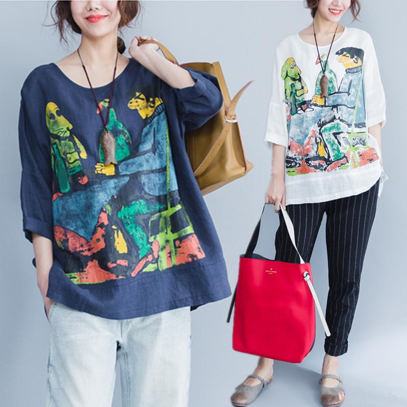 28b5c56e329dc Plus Size 4xl 5xl Summer Women Fashion Cute Graffiti Print Cotton Linen  Tops Lady Female Big Oversized Loose Shirt Blusas C19041001