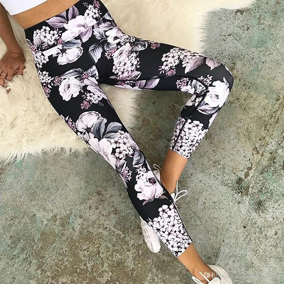 91bfbb97e26a1 High Waist Yoga Pants Capris Scrunch Leggings Elasticity Print ...