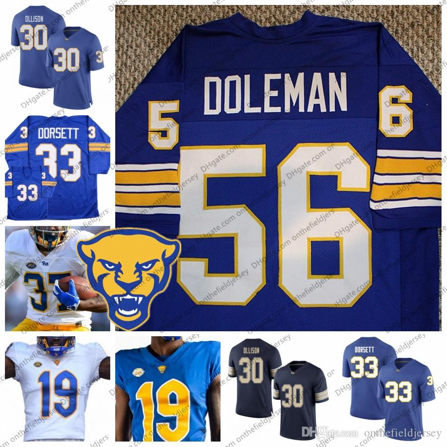 super popular c1452 44416 2019 NCAA Pittsburgh Panthers New Branding Football Jersey #56 Chris  Doleman 33 Tony Dorsett 30 Qadree Ollison 25 Darrelle Revis S-3XL