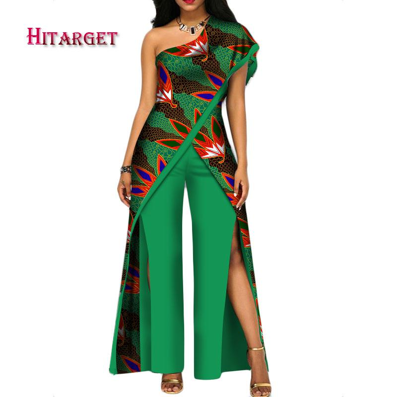 a5b3a09233 2019 2018 New Autumn African Pant Set For Women Sexy Off Shoulder Jumpsuit  Dashiki Clothing Batik Wax Printing Pure Cotton WY2373 From Bintarealwax