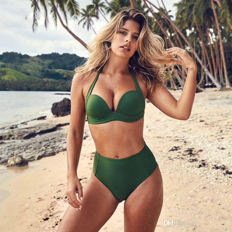 96ffdb2b9fbd 2019 Sexy Bikini 2019 Girls High Waist Bikini Push Up Swimsuit Women Solid Plus  Size Swimwear Ladies Bikini Set Red Bathing Suit From Zhouwencai2018107, ...