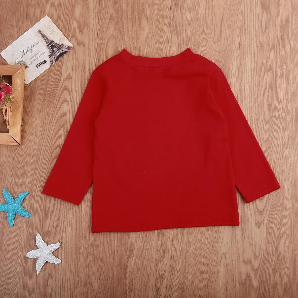 Noël enfants garçon manches longues T-shirt de Noël T T-shirt Tout-petit Vêtements Hauts 1-6Y
