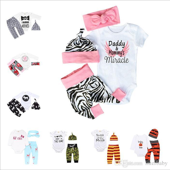 Girls Clothes Baby Summer Clothing Sets Kids Fashion Suits Boys Ins Boutique T Shirt Pants Headband Hats Outfits Newborn Floral Print B4347