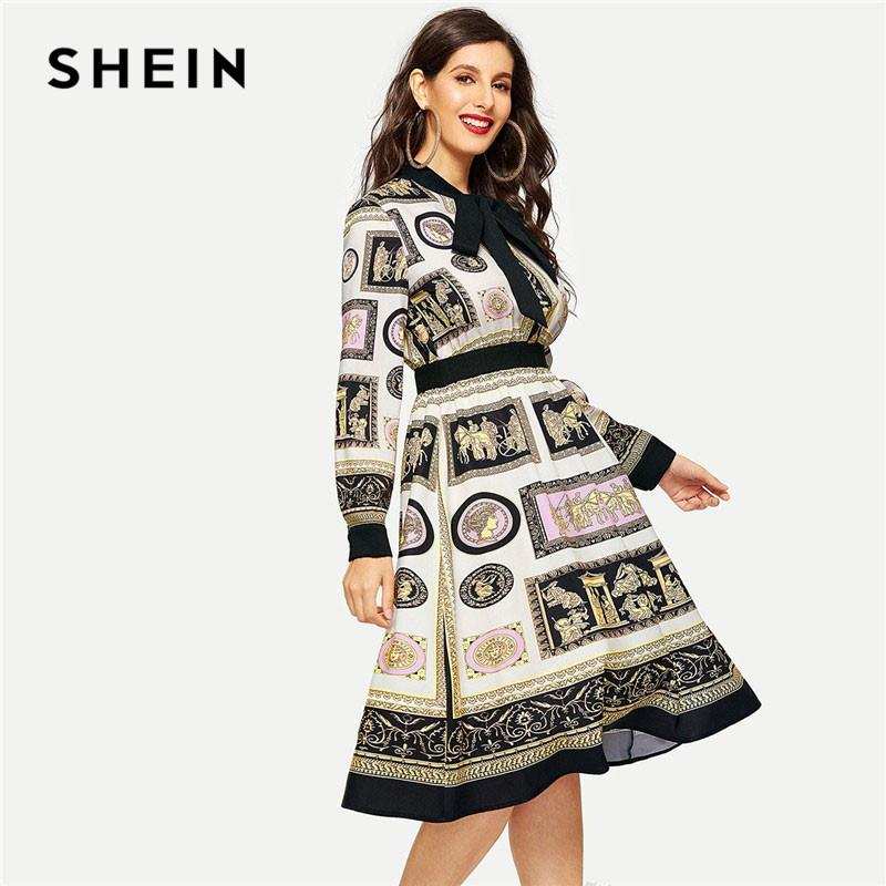d92eabf3e9 SHEIN Multicolor Tie Neck Long Sleeve Scarf Print Fit And Flare Dress Office  Lady Elegant Workwear Knee Length Dresses Pale Yellow Maxi Dress All White  Maxi ...