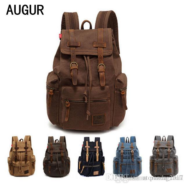 2017 AUGUR New fashion men's backpack vintage canvas backpack school bag men's travel bags large capacity Notebook tablet bag