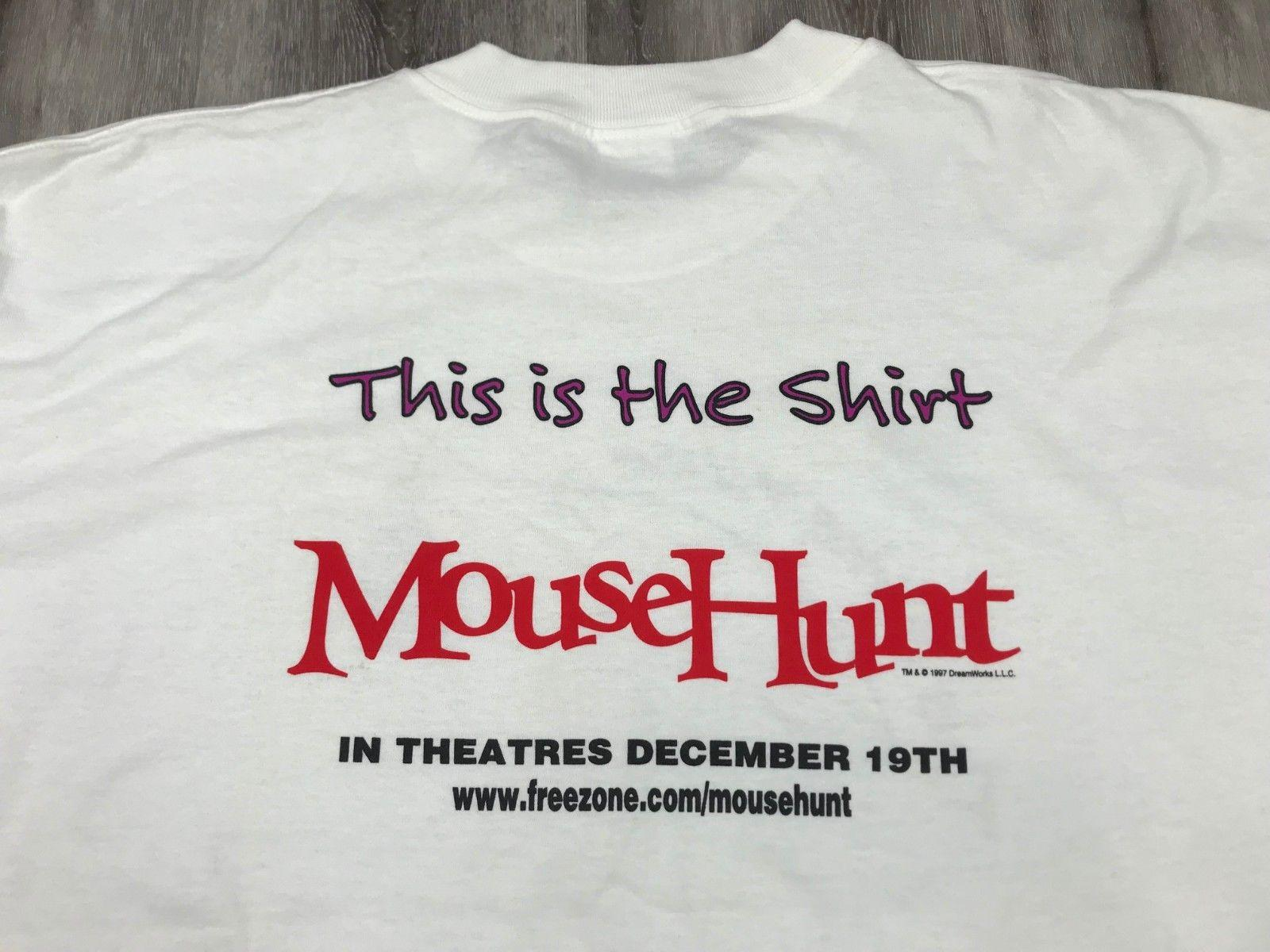 38f932b59 Vintage 1997 MOUSEHUNT Dreamworks Comedy Funny Movie Promo Cast Crew T Shirt  XL Trump Sweat Sporter T Shirt Novelty Tee Shirts Awesome Shirt Designs  From ...
