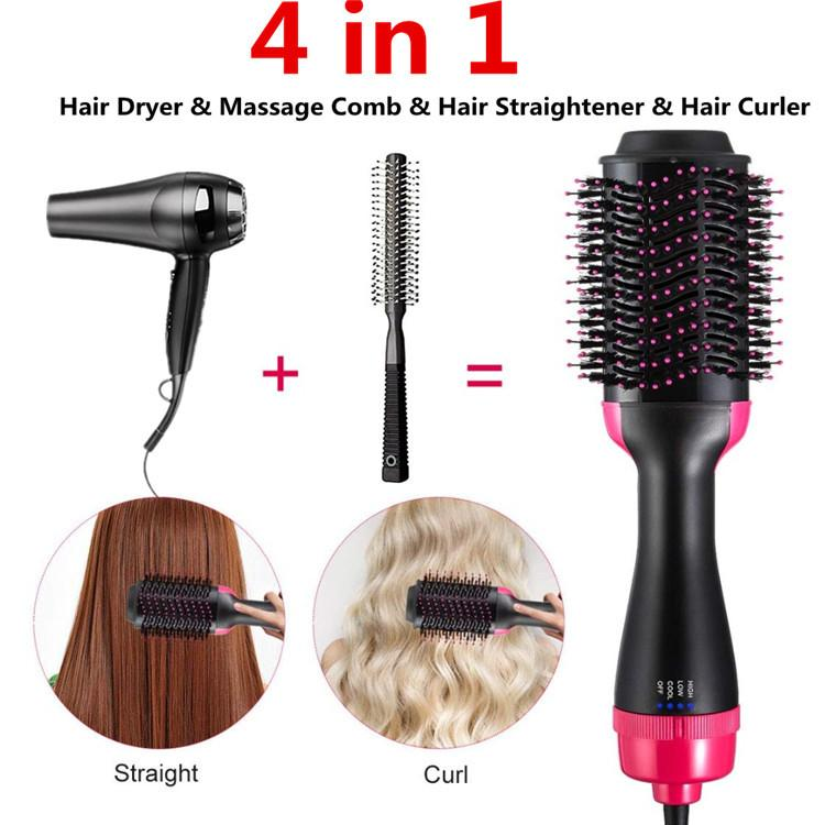 New Hot Air Brush One Step 4in1 Hair Dryer & Styler Multifunctional Straightening Curly Hair Comb with Negative Ions for All Hair Types