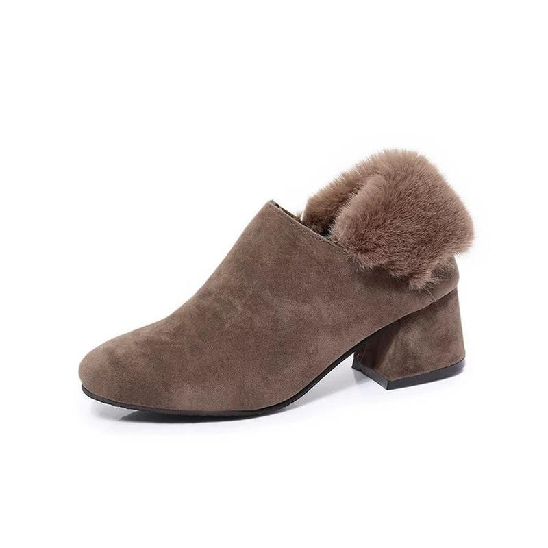 2019 New Ankle Boots for Women Women's Fashion Round Toe Microfiber Casual Shoes Slip-on Rabbit Hair Autumn Boots Size 35~40