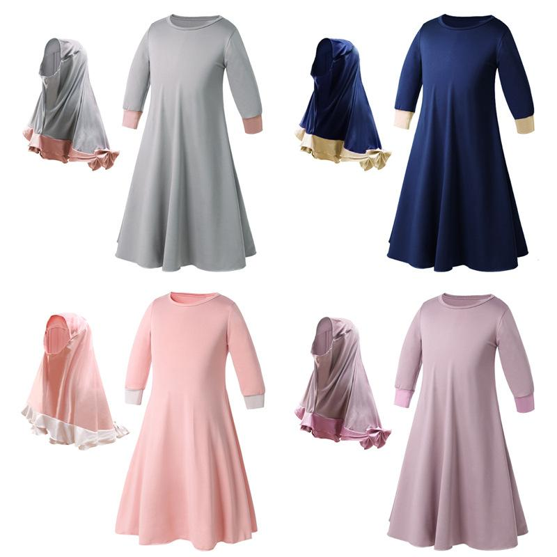 Two Sets Traditional Flowers Kids Clothing Fashion Child Abaya Muslim Girl Dress Jilbab and Abaya Islamic Children Hijab Dresses