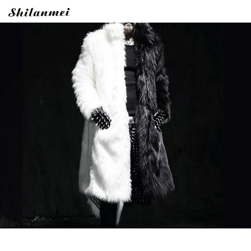 de594fe0931b43 Luxury Winter Men Long Faux Fur Coat 2019 Thick Warm Fox Fur Jacket  Black/White Contrast Color Outerwear Casual Parka Coat Overcoats For Men  Online Men Coat ...