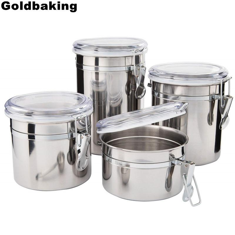 Tremendous Goldbaking 4 Pieces Kitchen Canisters Stainless Steel Beautiful Food Container Set For Kitchen Counter With Airtight Lids C18112301 Best Image Libraries Thycampuscom