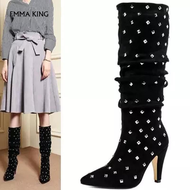 6c0a198b Fashion New Rivets Studded Knee High Boots Pointed Toe Suede High Heels  Ladies Pumps Party Shoes Woman Botas Mujer2019 Plus Size