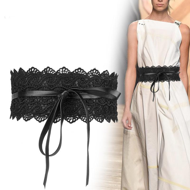 Fashion 2018 Black White Wide Corset Lace Belt Female Self Tie Obi Cinch Waistband Belts for Women Wedding Dress Waist Band 271 C19010301