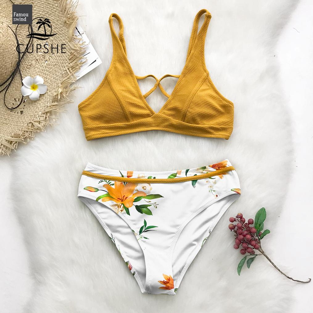 Yellow Floral Print Bikini Sets Women Cross Triangle Two Pieces Swimsuits 2019 Girl Sexy Swimwear Suits Bathing