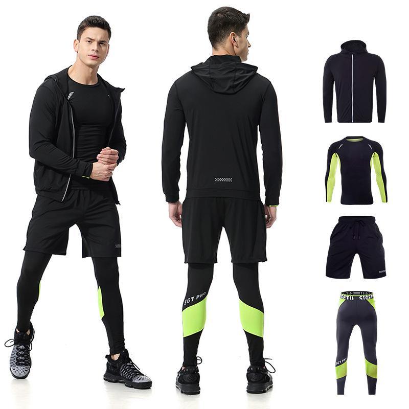 c8bdc83601c1 Acquista 2019 Running Set Abbigliamento Da Palestra Uomo Stretchy Collant A  Compressione Abbigliamento Sportivo Fitness Training Sport Da Jogging Abiti  4 ...