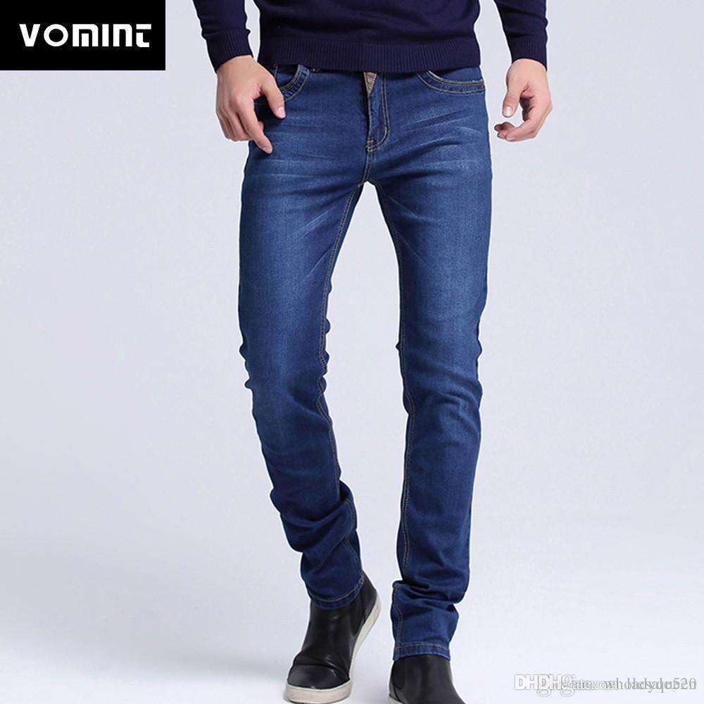 Acquista 2019 Jeans Uomo Nuovo Di Zecca Moda Uomo Casual Slim Fit Dritto  Alto Stretch Piedi Jeans Skinny Uomo Nero Vendita Calda Pantaloni Maschili  A $58.45