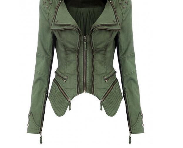 3dd6d4062256 Original Quality Women s Sharp Power Punk Studded Shoulder Rivets  Motorcycle Notched Lapel Denim Jeans Tuxedo Coat Jacket Online with   80.13 Piece on ...