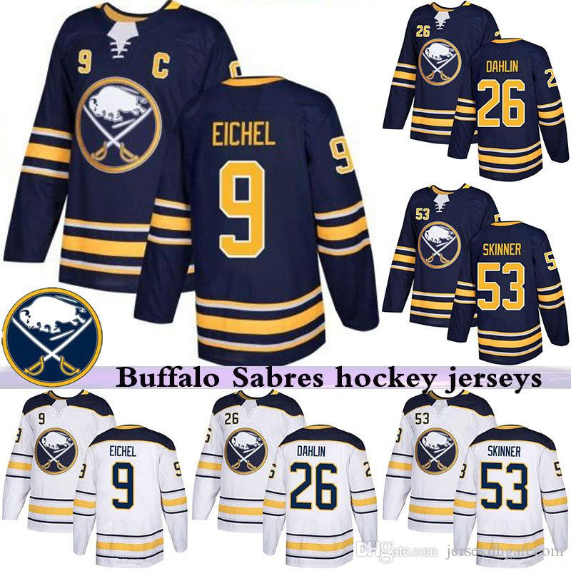 online store ecd0d 1702c Hockey Jerseys Buffalo Sabres 9 Jack Eichel Jersey Hockey 26 Rasmus Dahlin  53 Jeff Skinner 15 Jack Eichel Sam Reinhart 2019
