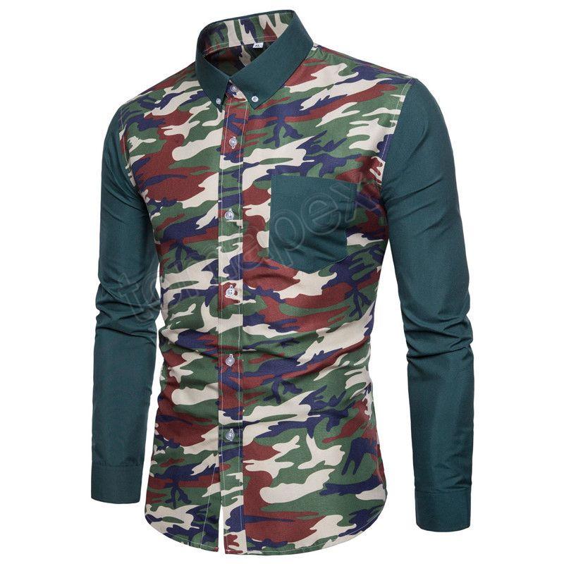 9e71744fa0749e Acheter Hommes Armée Camouflage Chemises 2018 Automne Militaire Chemises  Patchwork Camo Imprimer Manches Longues Chemises Hommes Vêtements Casual  Grand ...