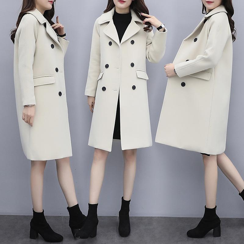 7c35dd68 Abrigo de invierno mujer abrigo para mujer Abrigo de abrigo de lana Abrigo  suelto Largo Nuevo Patrón Invierno cálido abrigo de lana de viento ...
