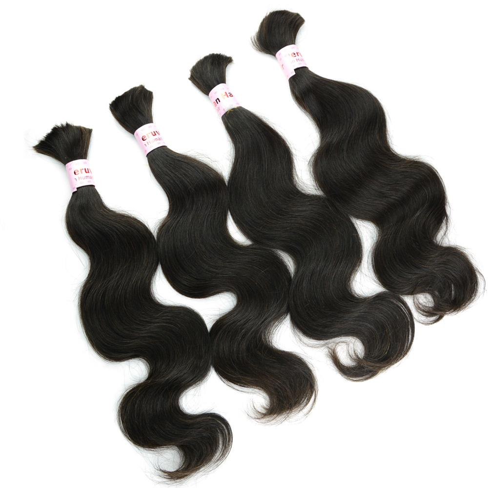 "100% Natural Human Hair Bulk 14""-26 inches Body Wavy Peruvian Hair Extensions without Weft for Micro Braids on Head FREE Tangle 4Bundles"