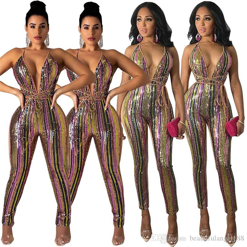 2019 New Colorful Stripe Paillettes Benda Tuta Sexy Profondo Scollo AV Senza Spalline Night Club Party Outfit Pagliaccetto Donne Complessivo