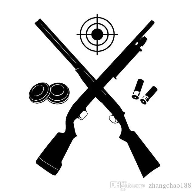 13.5*17CM Car styling Target Shooter Gun Game Vinyl Decal Car Sticker Black/Silver CA-1254