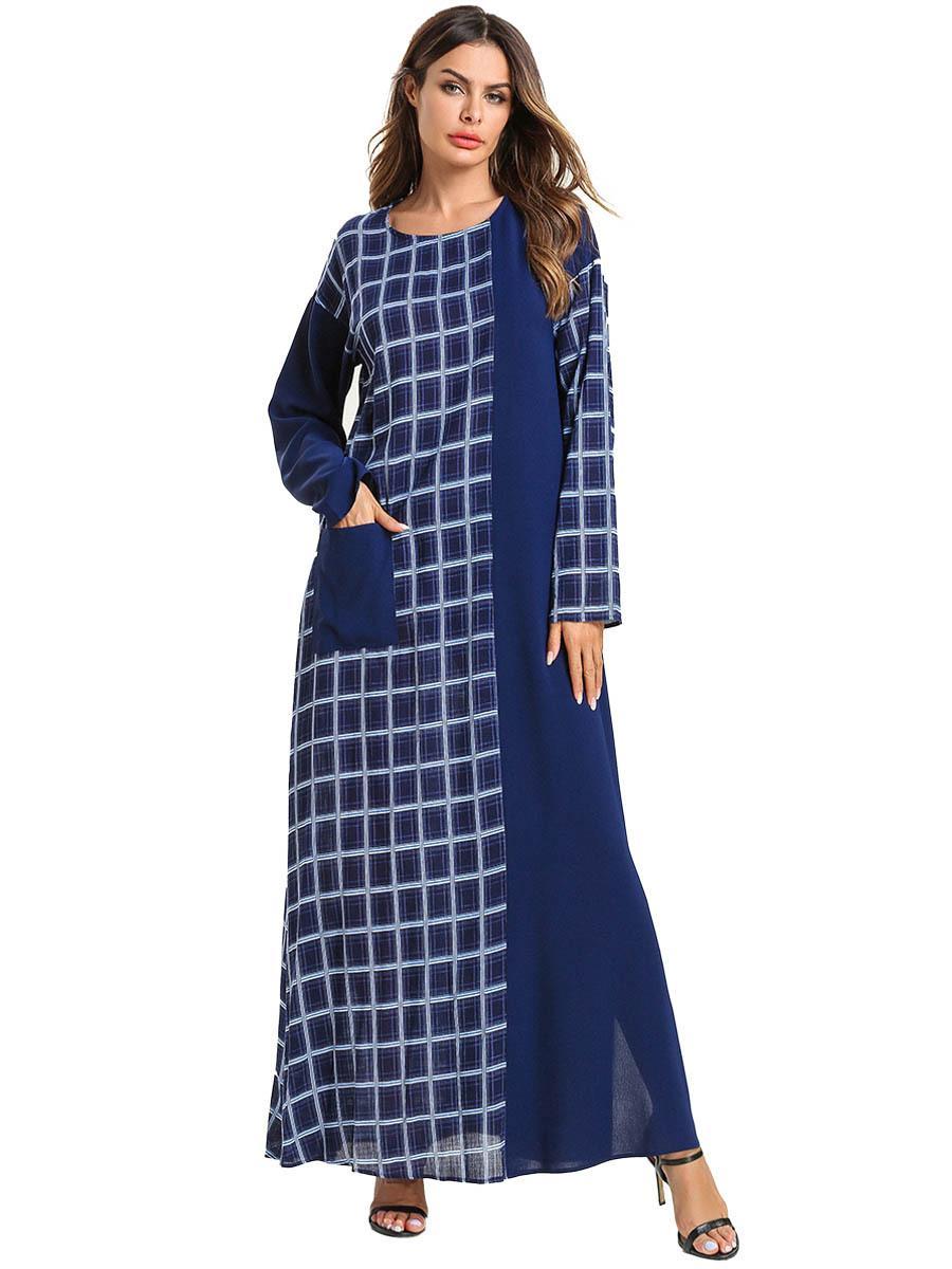 56f60225ac2a4 Long Muslim Dress Women Maxi Abaya Plus Size Islamic Clothing 4XL Kaftan  Pakistan Turkish Moroccan Blue Plaid Pocket Casual Robe