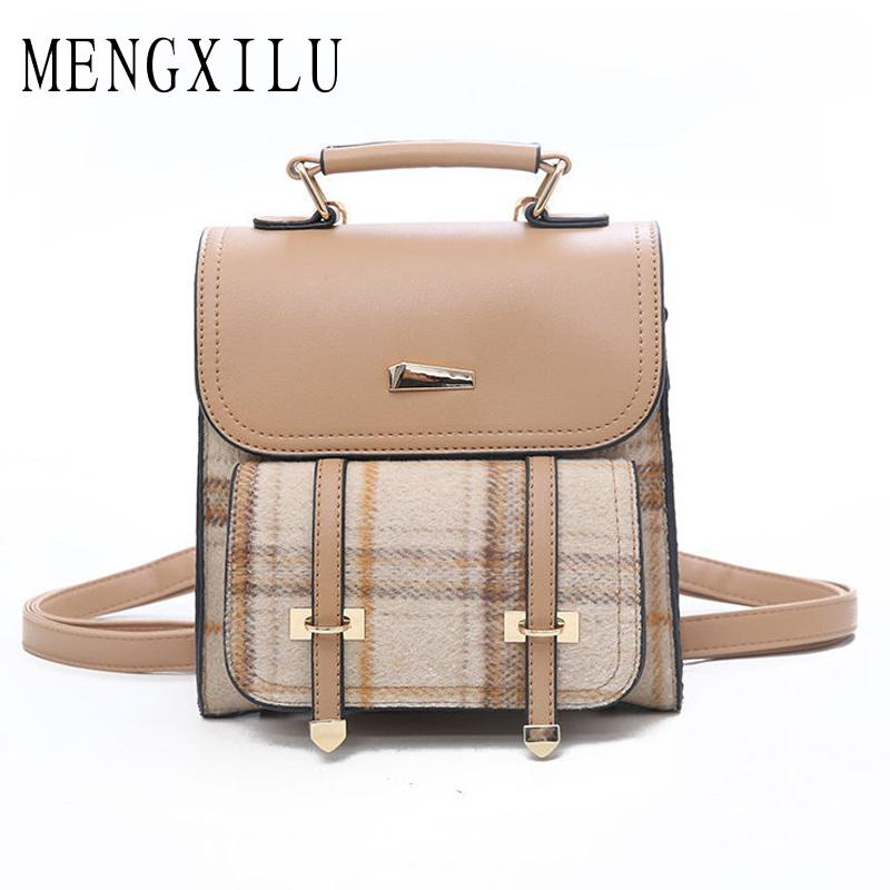 d3785c577498 Leather Wool Women Backpack Simple Preppy Style Backpack Girls ...