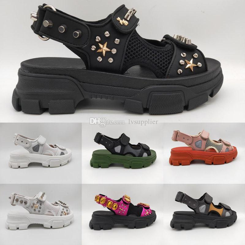 d844ba0785f New Arrival Mens Leather And Mesh Sandal With Studs Crystals Summer Fashion  Luxury Designer Women Sandals Riveted Slide Slippers Shoes  Box Girls  Sandals ...